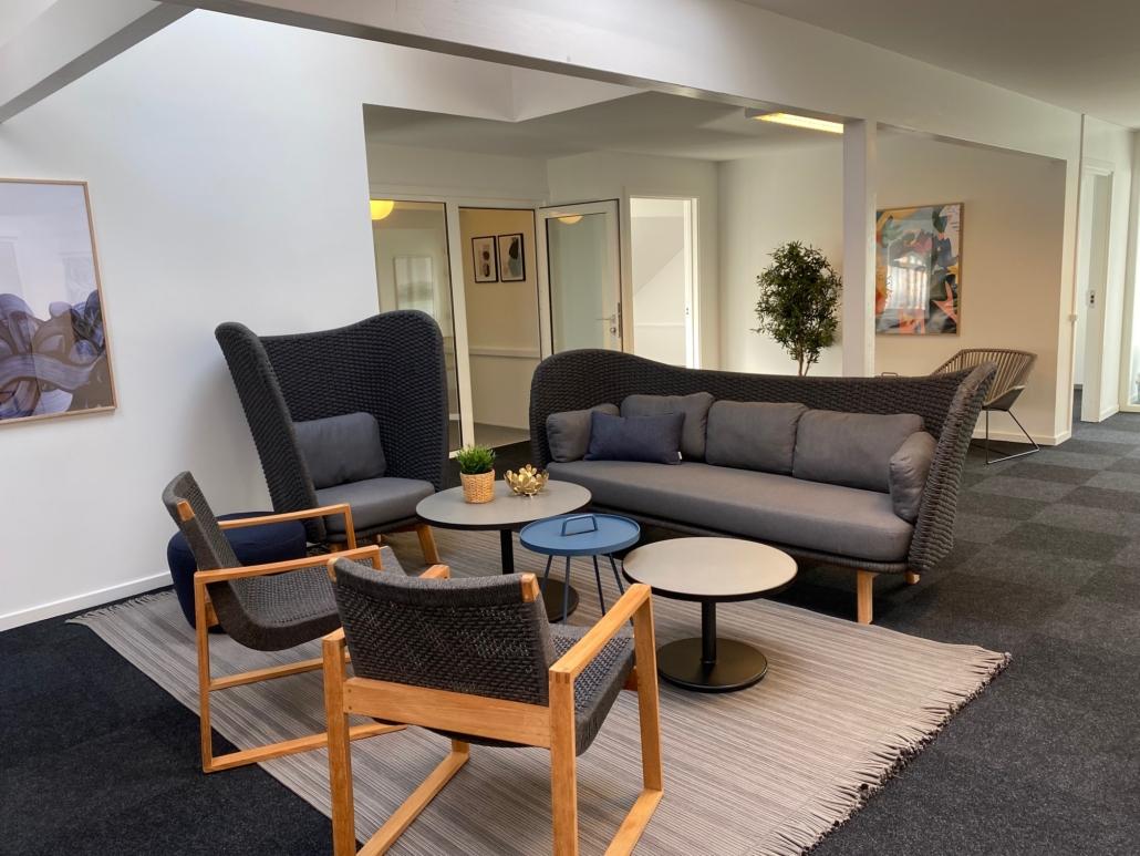 Loungeområdet i kontorfællesskabet